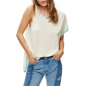 Free People Pluto one shoulder t shirt sky
